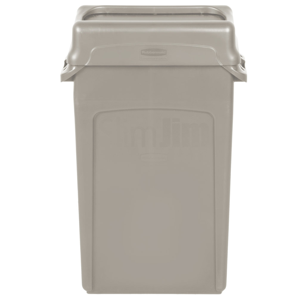 rubbermaid slim jim 23 gallon beige wall hugger trash can with beige swing lid. Black Bedroom Furniture Sets. Home Design Ideas