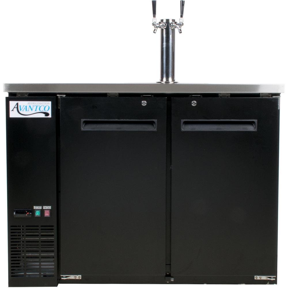 Avantco UDD-48-HC Double Tap Kegerator Beer Dispenser - Black, (2) 1 ...