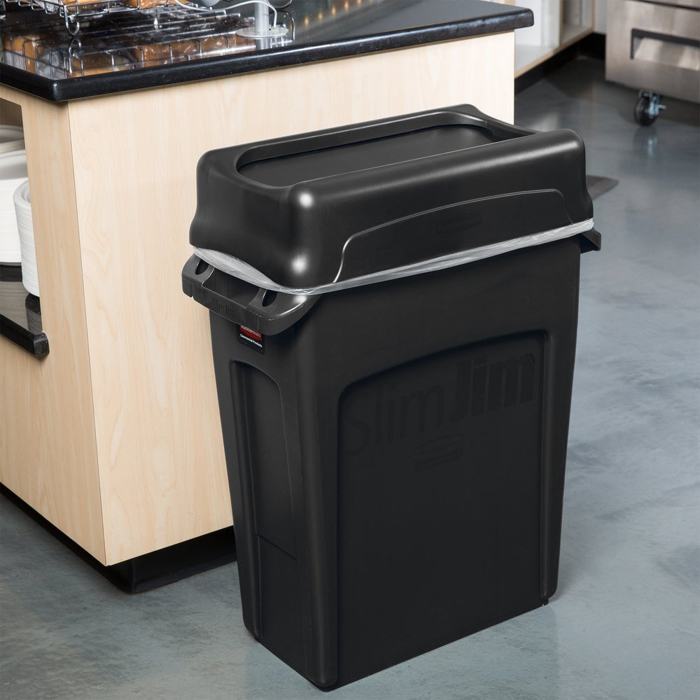Rubbermaid slim jim 16 gallon black wall hugger trash can with black swing lid - Slim garbage cans for kitchen ...