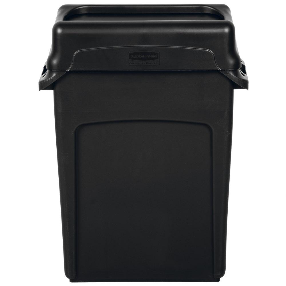 Rubbermaid Slim Jim 64 Qt 16 Gallon Black Trash Can
