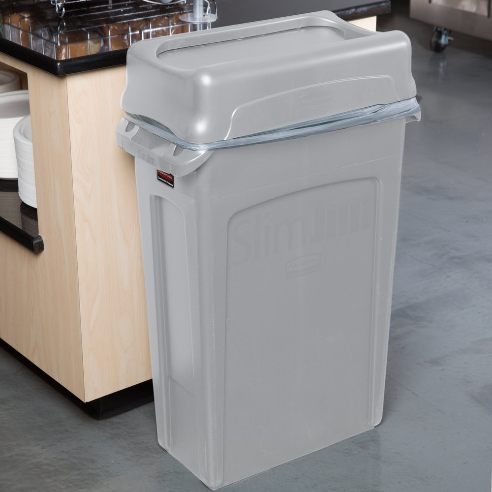 Rubbermaid slim jim 23 gallon gray wall hugger trash can with gray swing lid - Slim garbage cans for kitchen ...