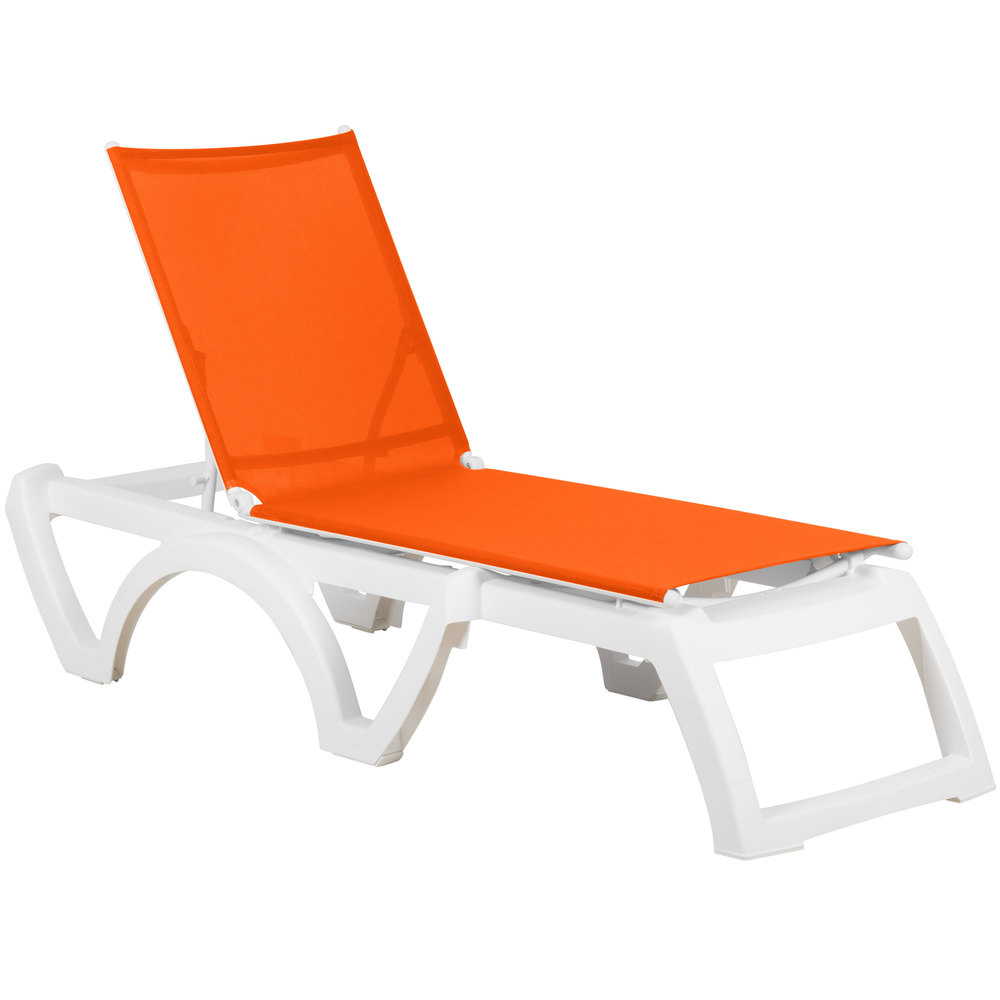 Grosfillex us746019 calypso white orange stacking for Chaise longue resine