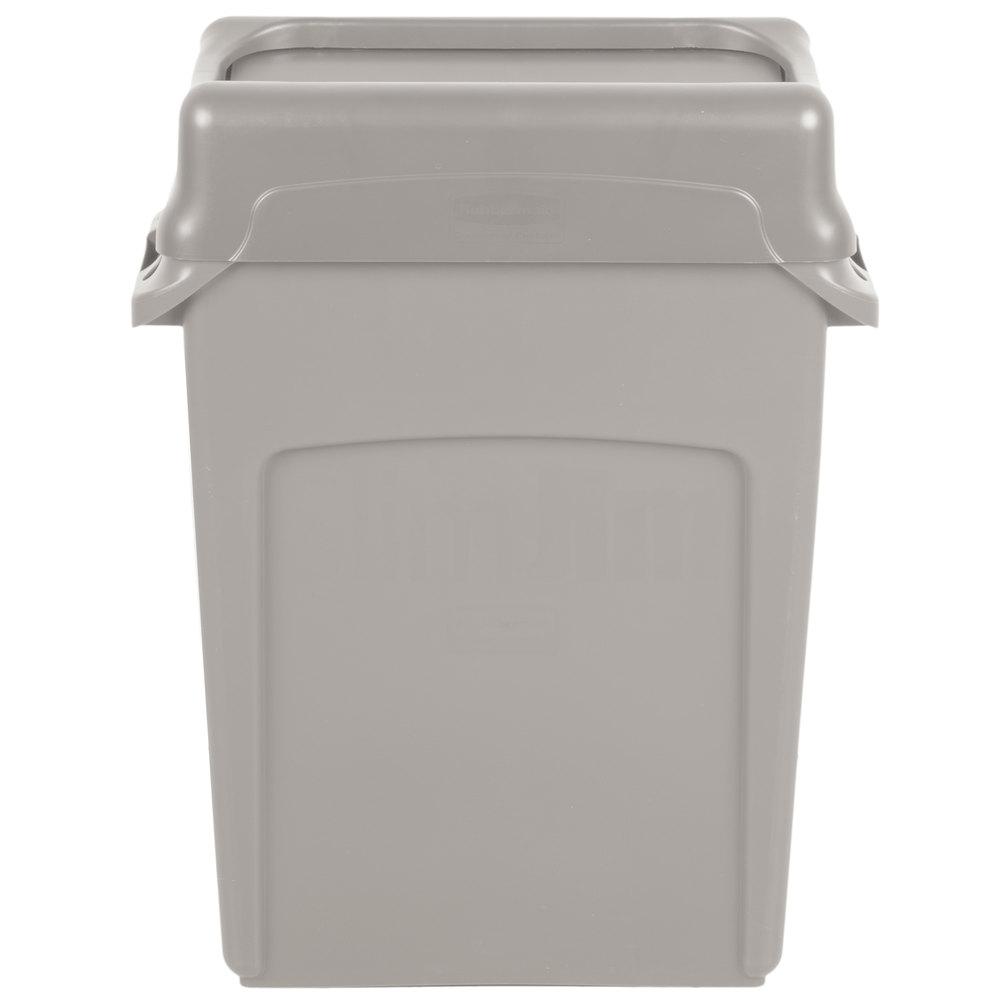 Rubbermaid Slim Jim 16 Gallon Beige Trash Can With Beige