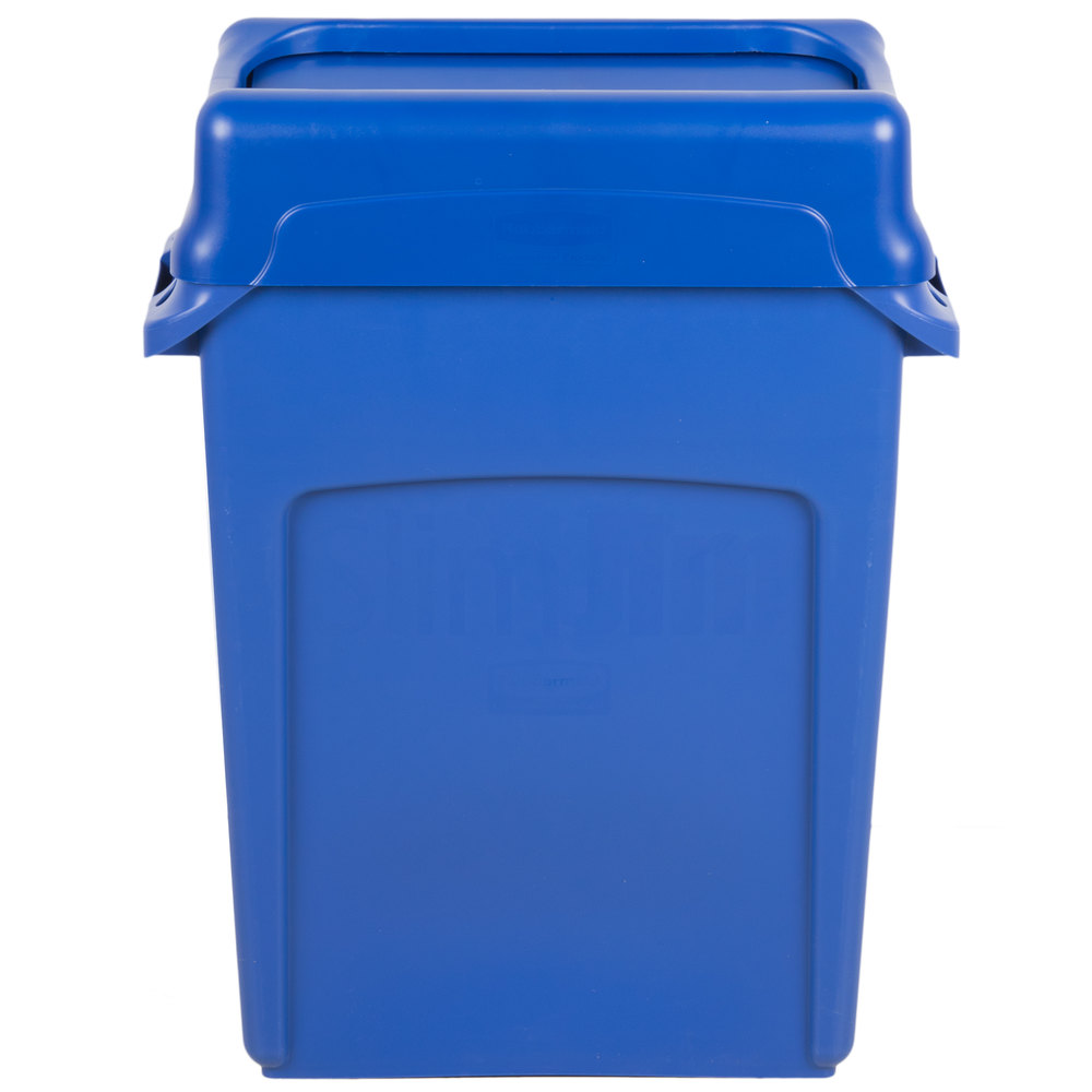 rubbermaid slim jim 16 gallon blue wall hugger trash can with blue swing lid. Black Bedroom Furniture Sets. Home Design Ideas