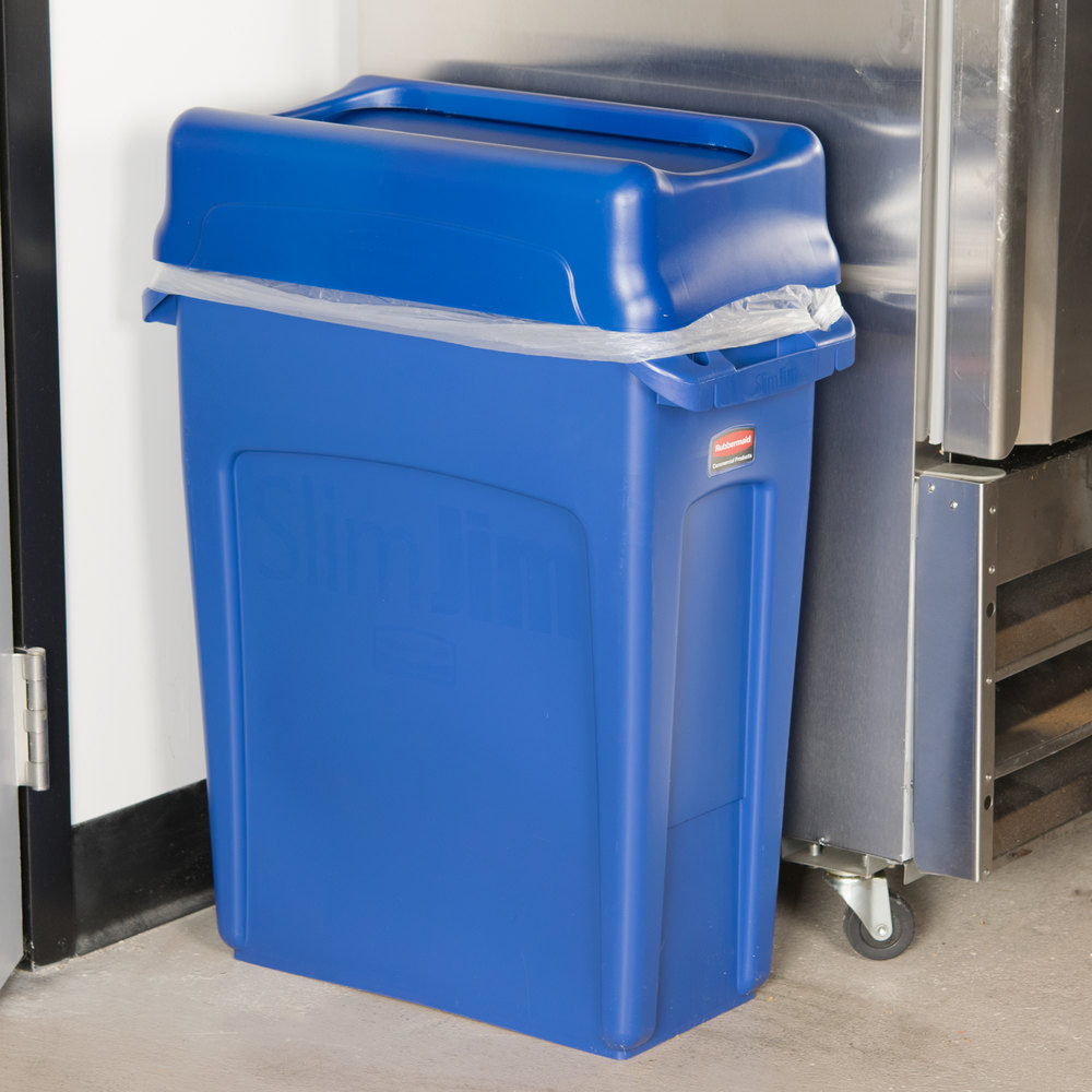Rubbermaid Slim Jim 16 Gallon Blue Wall Hugger Trash Can With Blue Swing Lid