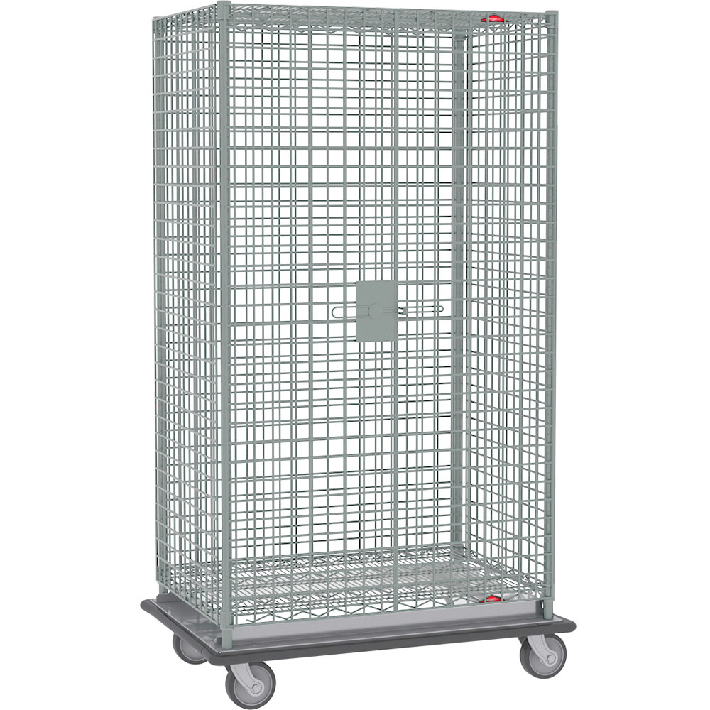 "Metro SEC55LC Chrome Mobile Heavy Duty Wire Security Cabinet - 50 1/2"" x 28 1/16"" x 68 1/2"""