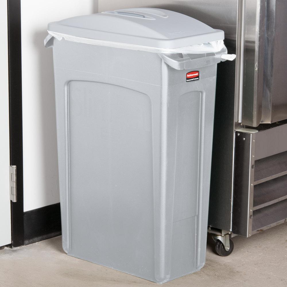 rubbermaid slim jim 23 gallon light gray wall hugger trash can with light gray handled lid. Black Bedroom Furniture Sets. Home Design Ideas