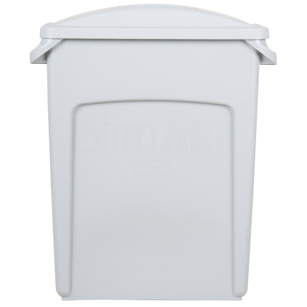 Rubbermaid Slim Jim 16 Gallon Light Gray Wall Hugger Trash Can with Light Gray Handled Lid