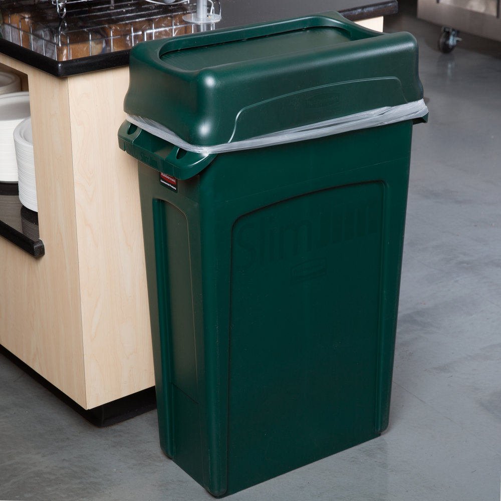 Rubbermaid slim jim 23 gallon green wall hugger trash can with green swing lid - Slim garbage cans for kitchen ...