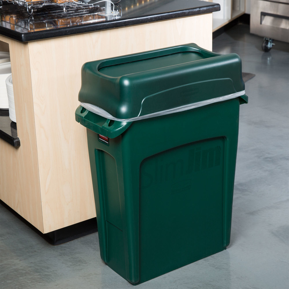 rubbermaid slim jim 16 gallon green wall hugger trash can with green swing lid. Black Bedroom Furniture Sets. Home Design Ideas