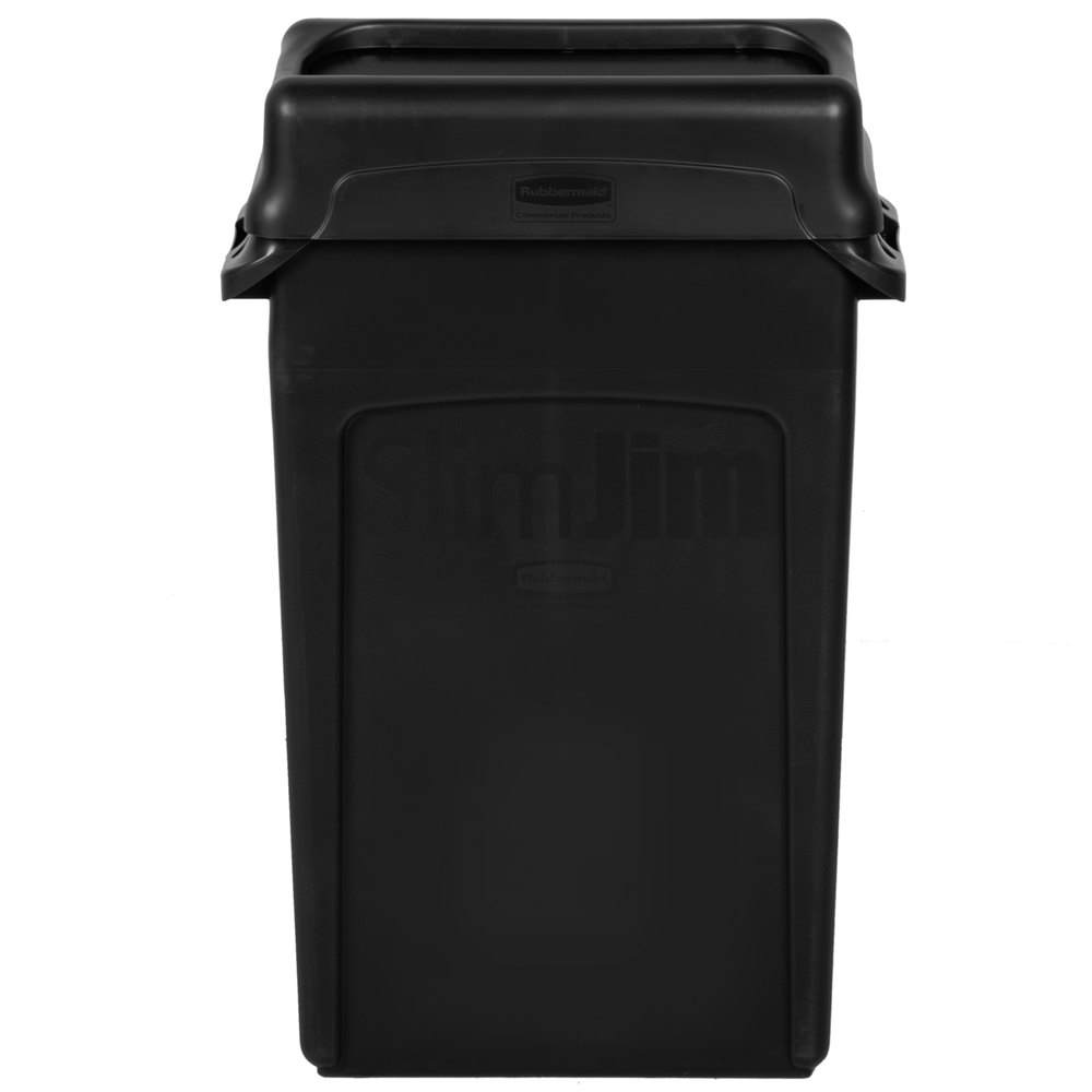 Rubbermaid Slim Jim 23 Gallon Black Wall Hugger Trash Can With Black Swing  Lid
