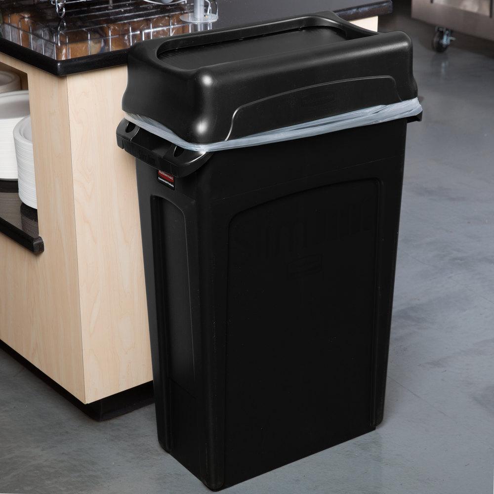 rubbermaid slim jim 23 gallon black wall hugger trash can with black swing lid. Black Bedroom Furniture Sets. Home Design Ideas