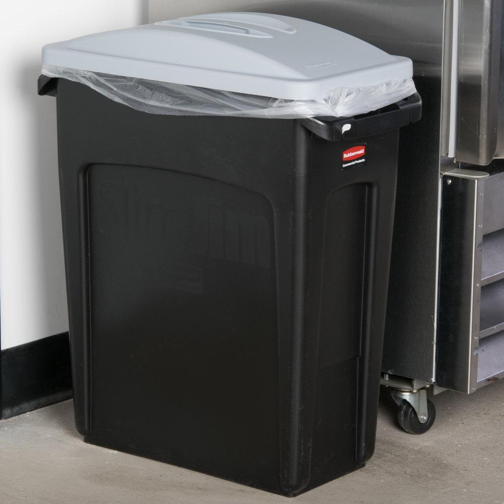 rubbermaid slim jim 16 gallon black wall hugger trash can with light gray handled lid. Black Bedroom Furniture Sets. Home Design Ideas