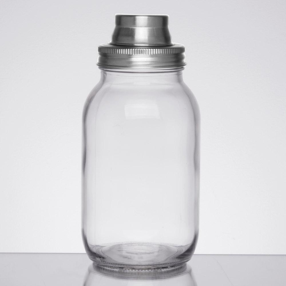 Tablecraft Mjs30 30 Oz Glass Mason Jar Bar Shaker With