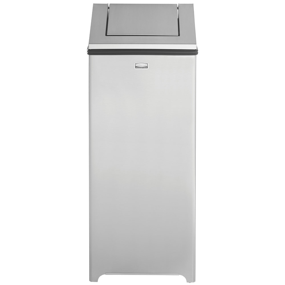 Rubbermaid FGT1424SSPL Wastemaster Stainless Steel Swing Top 16 Gallon Trash  Can