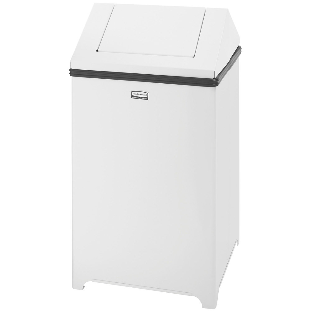 rubbermaid fgt1414erbwh wastemaster white stainless steel swing top 14 gallon trash can. Black Bedroom Furniture Sets. Home Design Ideas