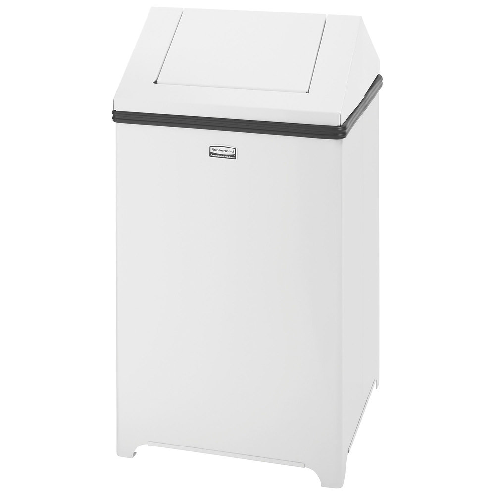 rubbermaid fgt1414eplwh wastemaster white stainless steel swing top 10 5 gallon trash can. Black Bedroom Furniture Sets. Home Design Ideas