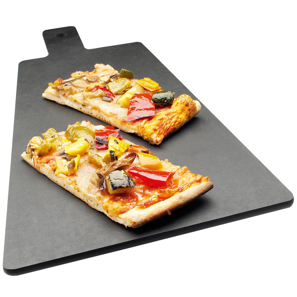 "Cal-Mil 1535-16-13 Black Trapezoid Flat Bread Serving / Display Board with Handle - 16"" x 8"" x 1/4"""