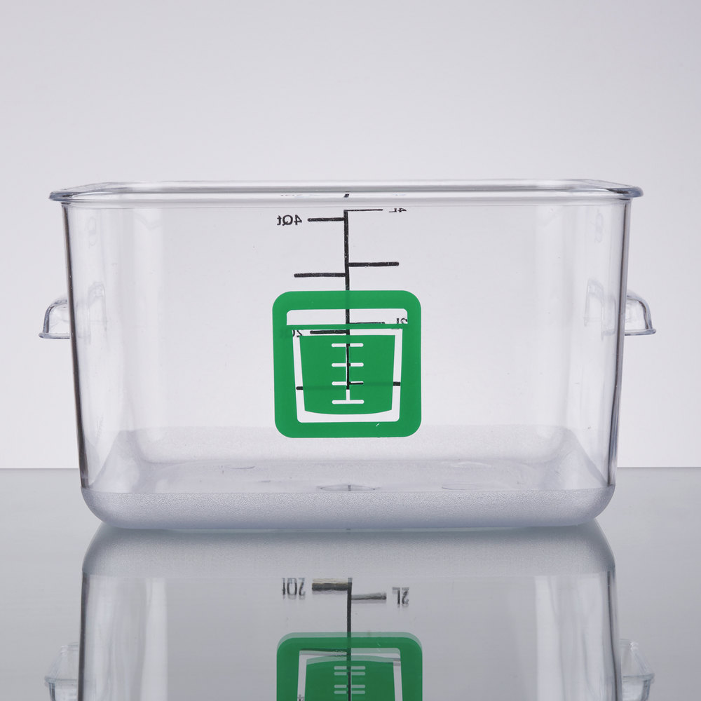 rubbermaid 1980322 color coded clear 4 qt square food storage container with green logo. Black Bedroom Furniture Sets. Home Design Ideas