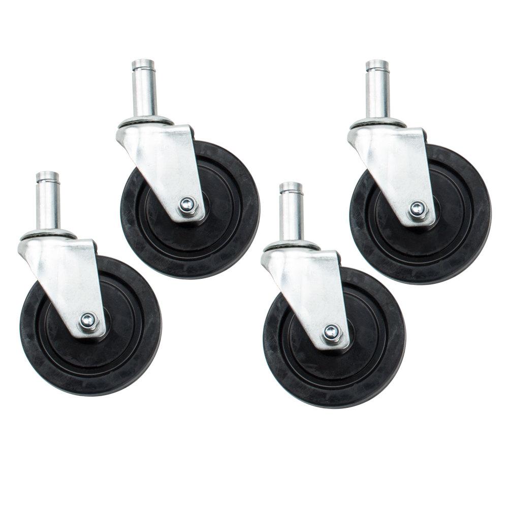 Regency 5 inch Rubber Swivel Stem Shelving Casters - 4/Set