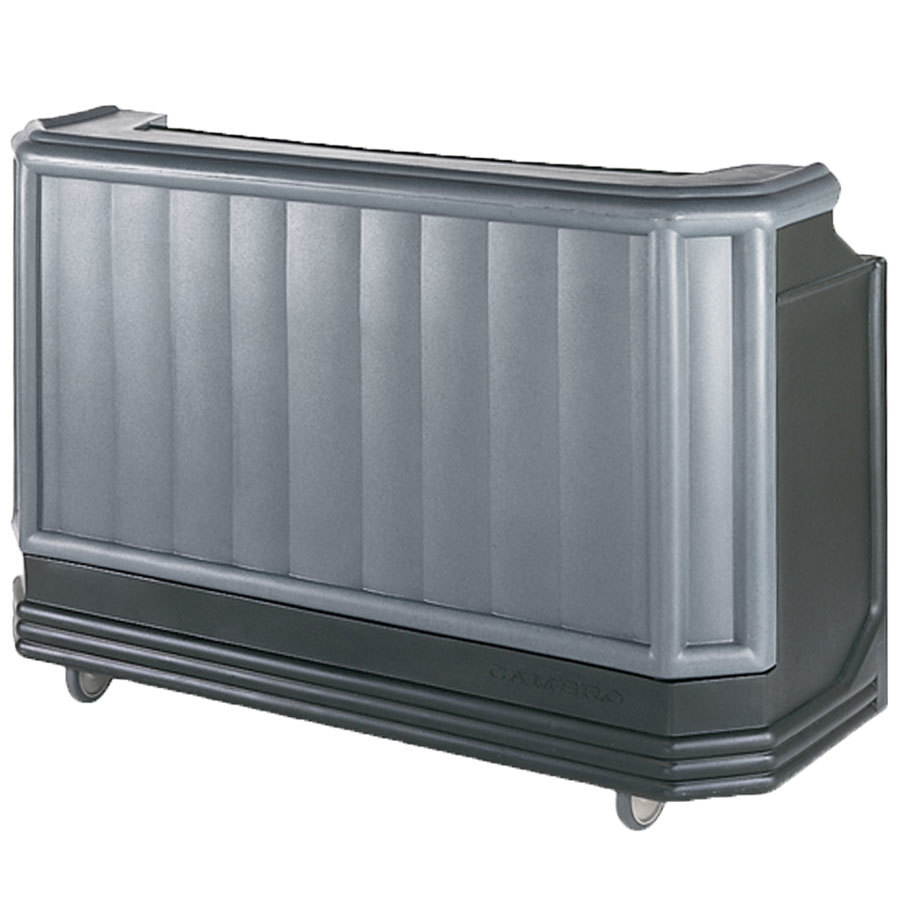 "Cambro BAR730CP420 Granite Gray and Black Cambar 73"" Portable Bar with 7 Bottle Speed Rail and Cold Plate"