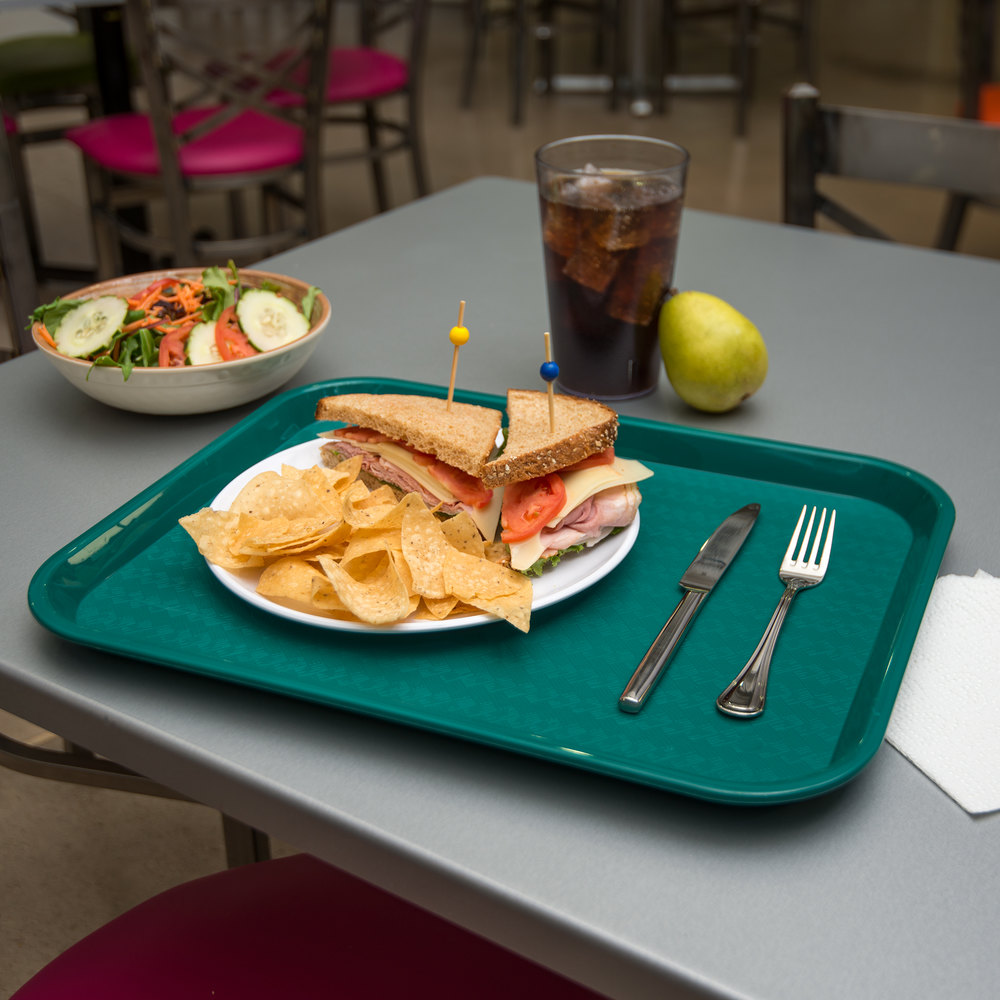 "Carlisle CT141815 Customizable Cafe 14"" x 18"" Teal Standard Plastic Fast Food Tray - - 12/Case"
