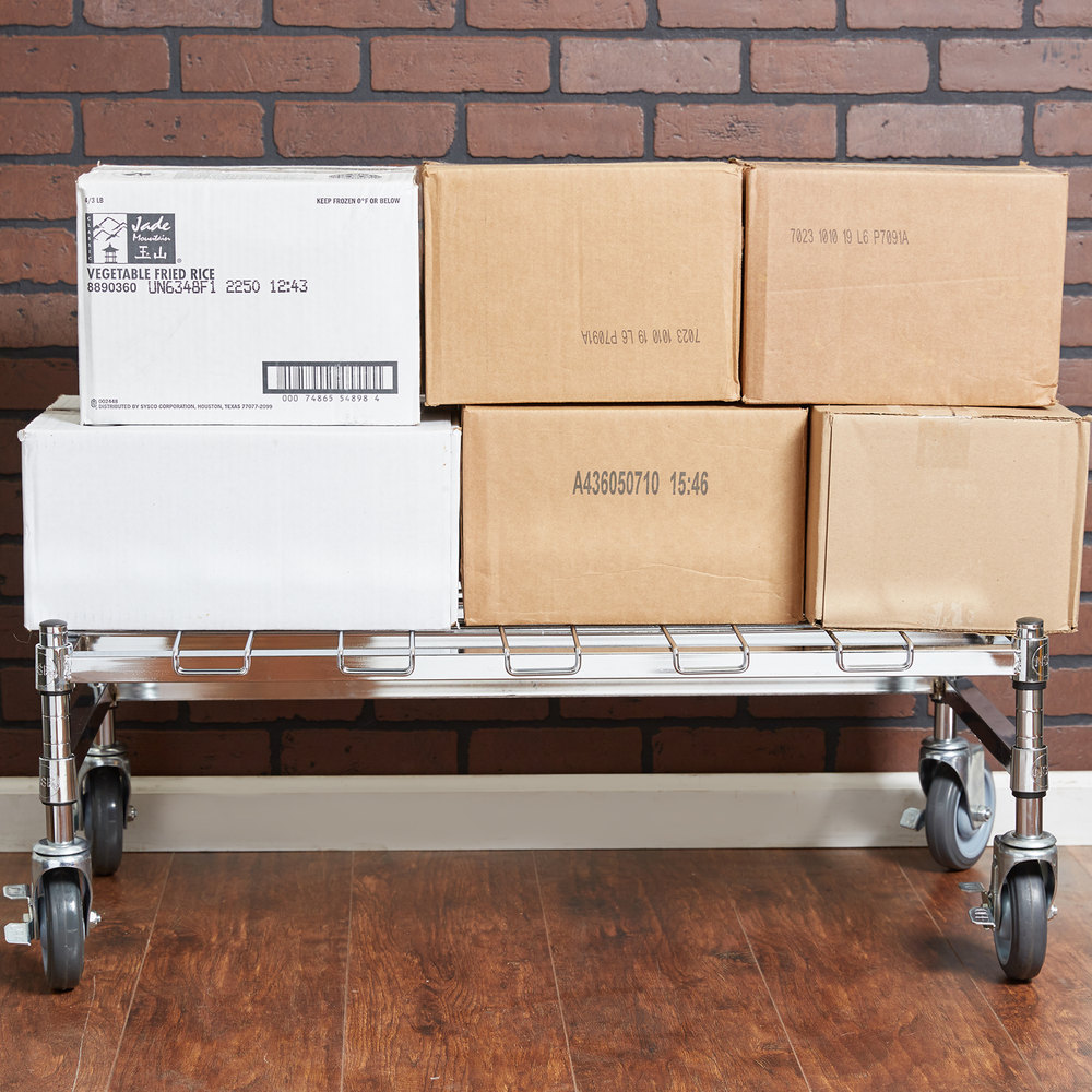 "Regency 18"" x 36"" Heavy-Duty Mobile Chrome Dunnage Rack with Mat"