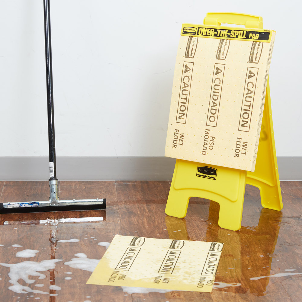 Rubbermaid Over The Spill Kit Caution Wet Floor Sign