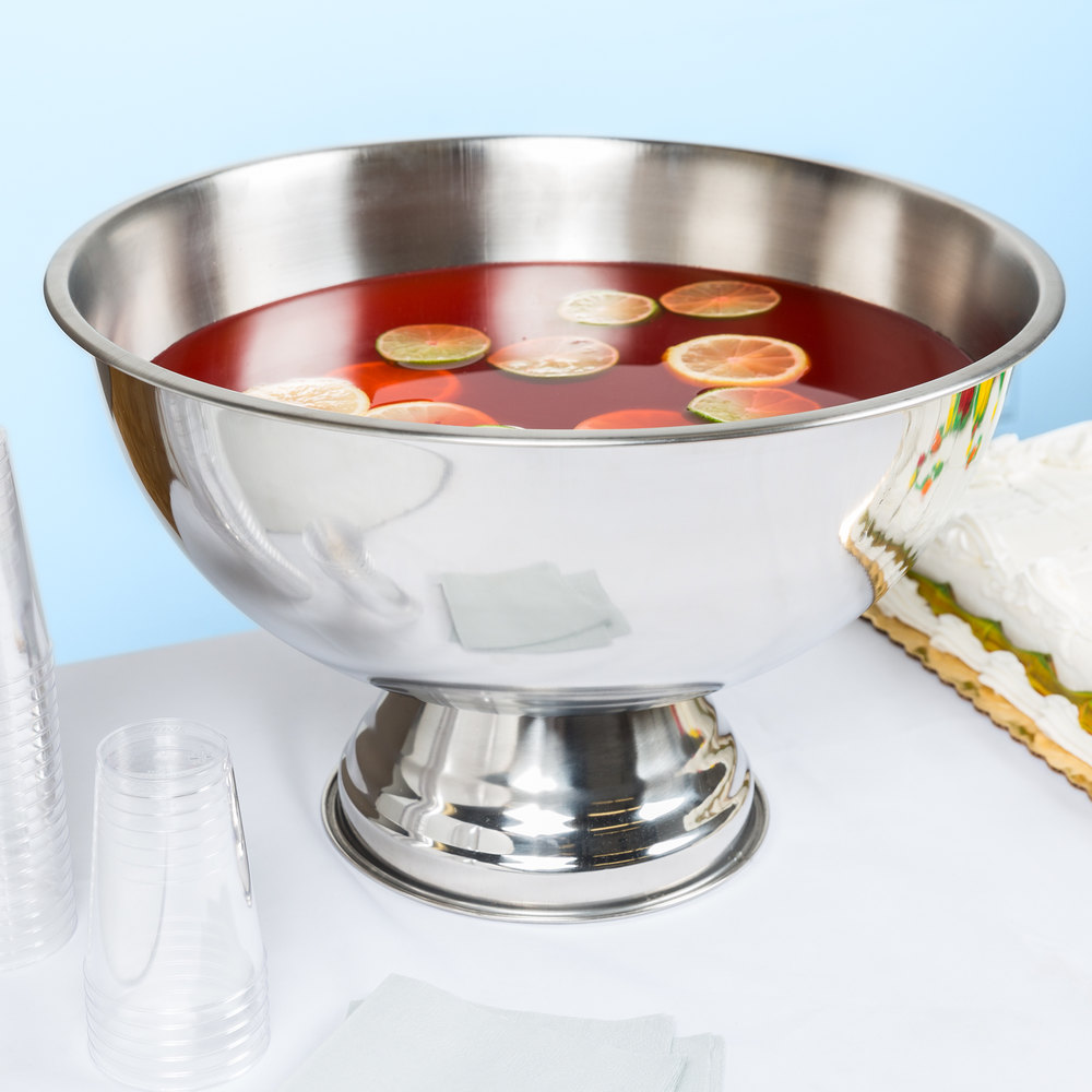 12 Qt Stainless Steel Punch Bowl With Mirror Finish