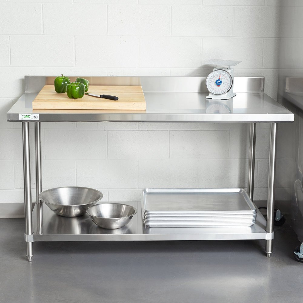regency spec line 30 x 60 14 gauge stainless steel commercial work table with 4 backsplash and undershelf