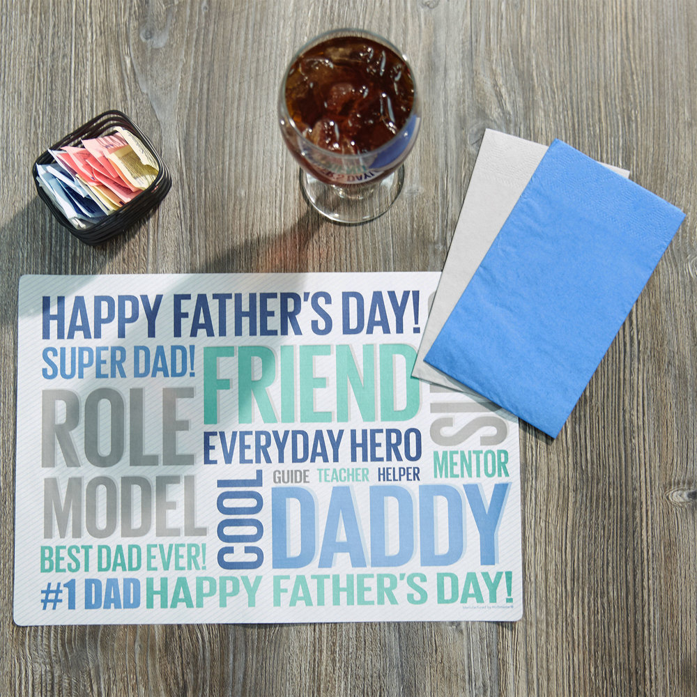"Hoffmaster 856780 10"" x 14"" Father's Day Placemat Combo Pack - 250/Case"