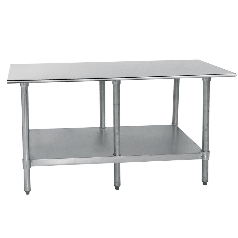 "Advance Tabco TT-248-X 24"" x 96"" 18 Gauge Stainless Steel Work Table with Galvanized Undershelf"