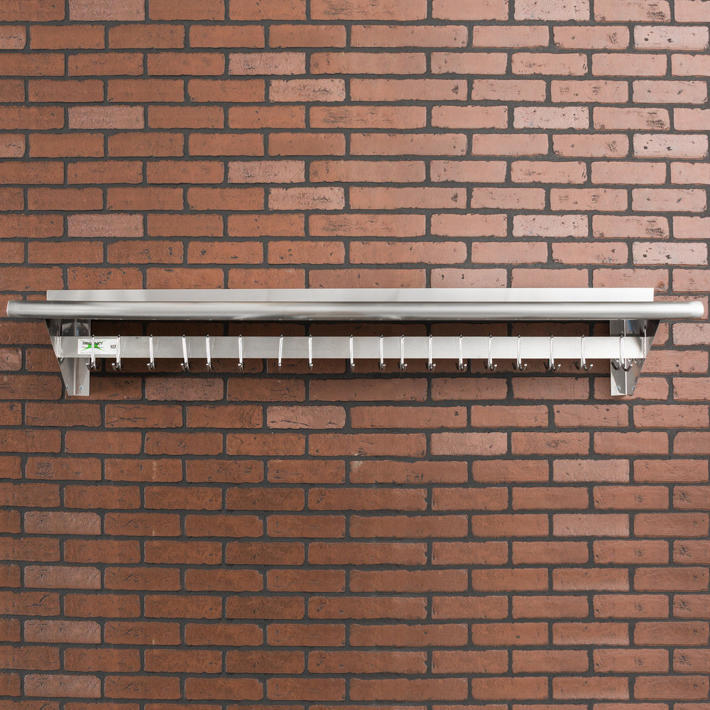 "Regency 12"" x 60"" Stainless Steel Wall Mounted Pot Rack with Shelf and 18 Galvanized Hooks"