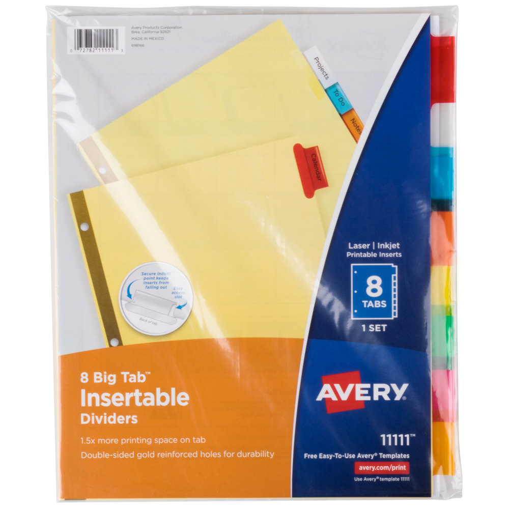 Avery 11111 big tab buff paper 8 tab multi color for Avery big tab inserts for dividers 8 tab template