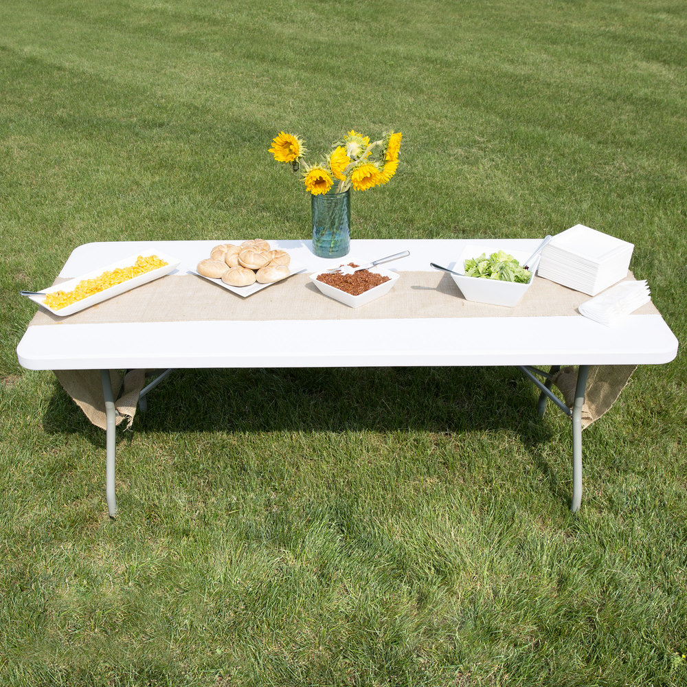 "Lancaster Table & Seating 30"" x 72"" Heavy Duty White Granite Plastic Folding Table"
