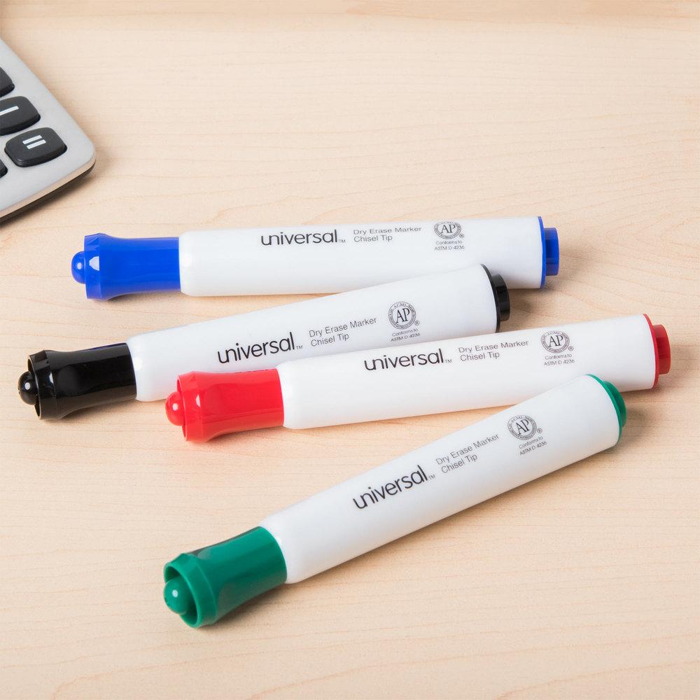 universal unv43650 chisel tip desk style dry erase marker color assortment 4pack
