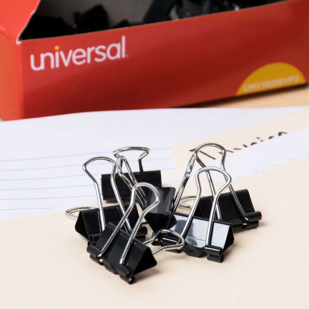 "Universal UNV10200VP3 3/8"" Capacity Black Small Binder Clip - 36/Pack"