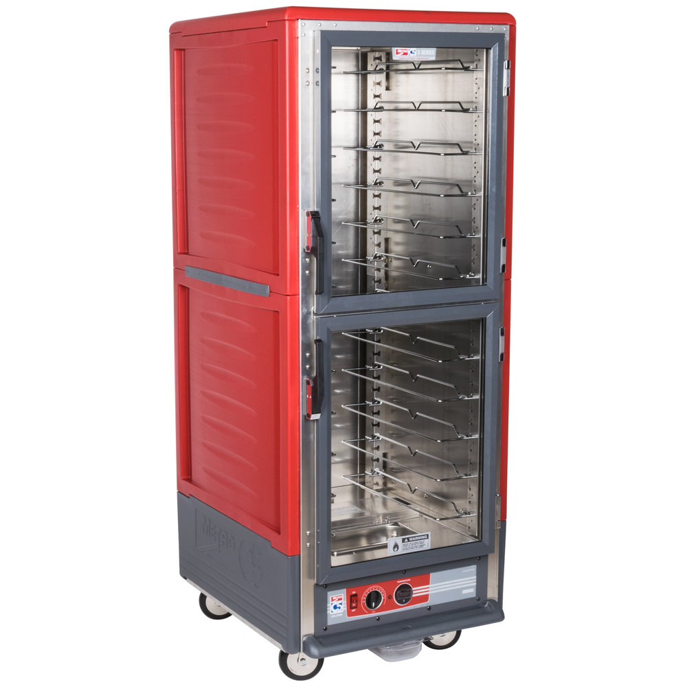 Metro C539-HDC-U C5 3 Series Heated Holding Cabinet with Clear Dutch Doors - Red