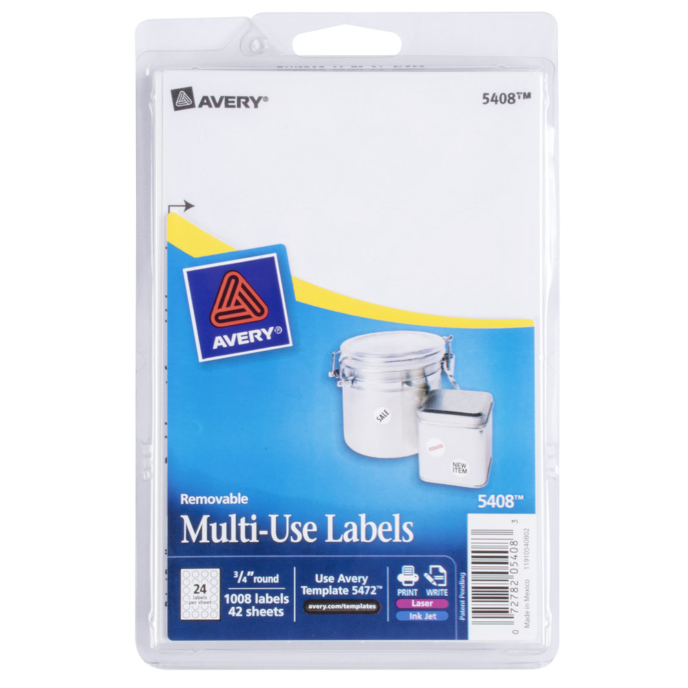 Avery 5408 34 White Round Removable Write On Printable Labels