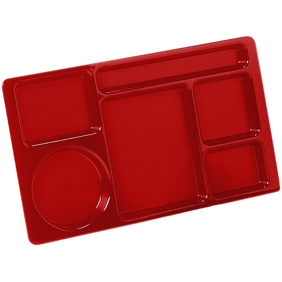 "Carlisle 61505 Space Saver 8 3/4"" x 15"" Red ABS Plastic 6 Compartment Tray"