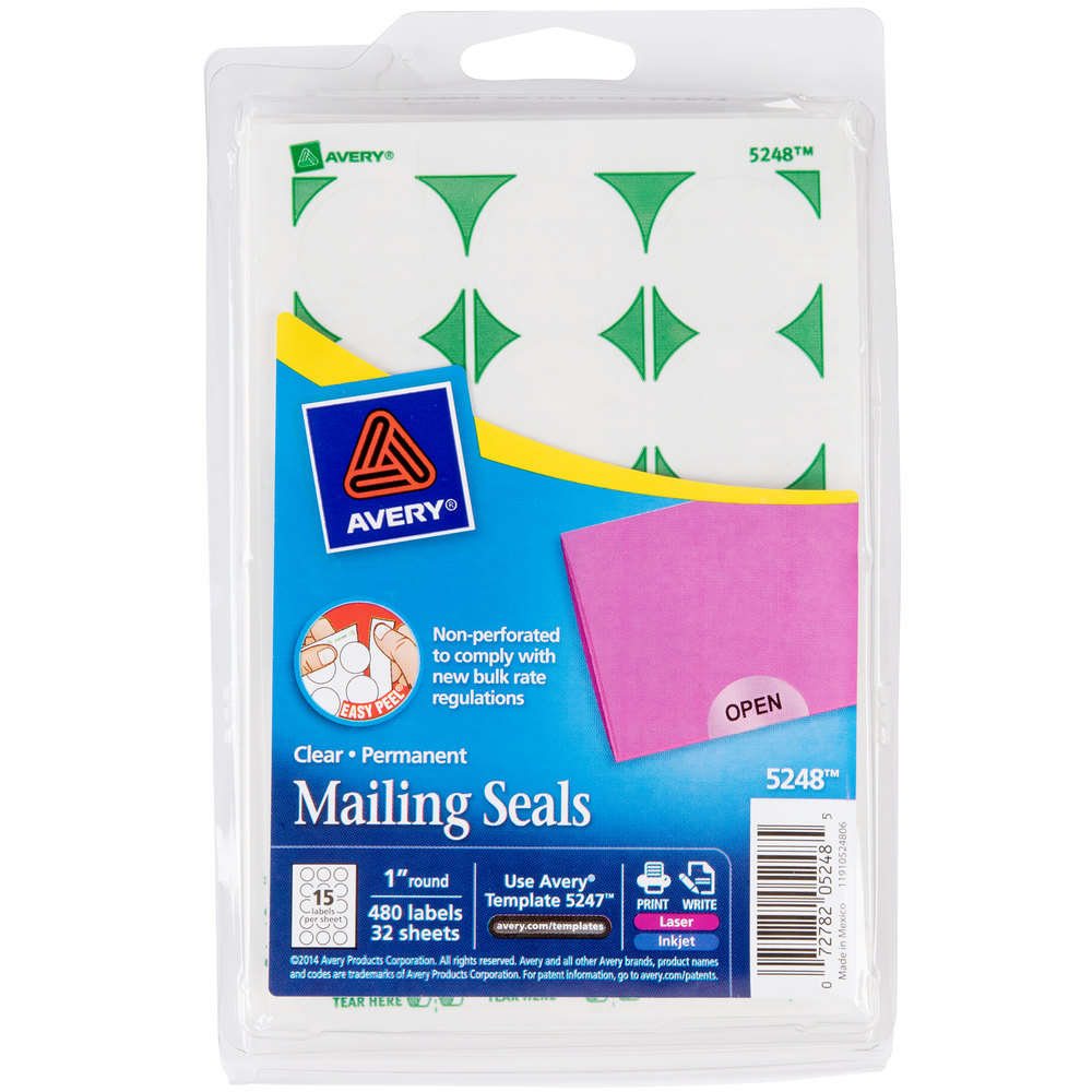 Avery 5248 1 Clear Round Write On Printable Mailing Seals 480pack