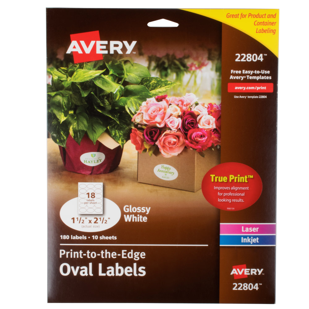 Avery 22804 Easy Peel 1 1 2 X 2 12 True Print White Glossy Oval