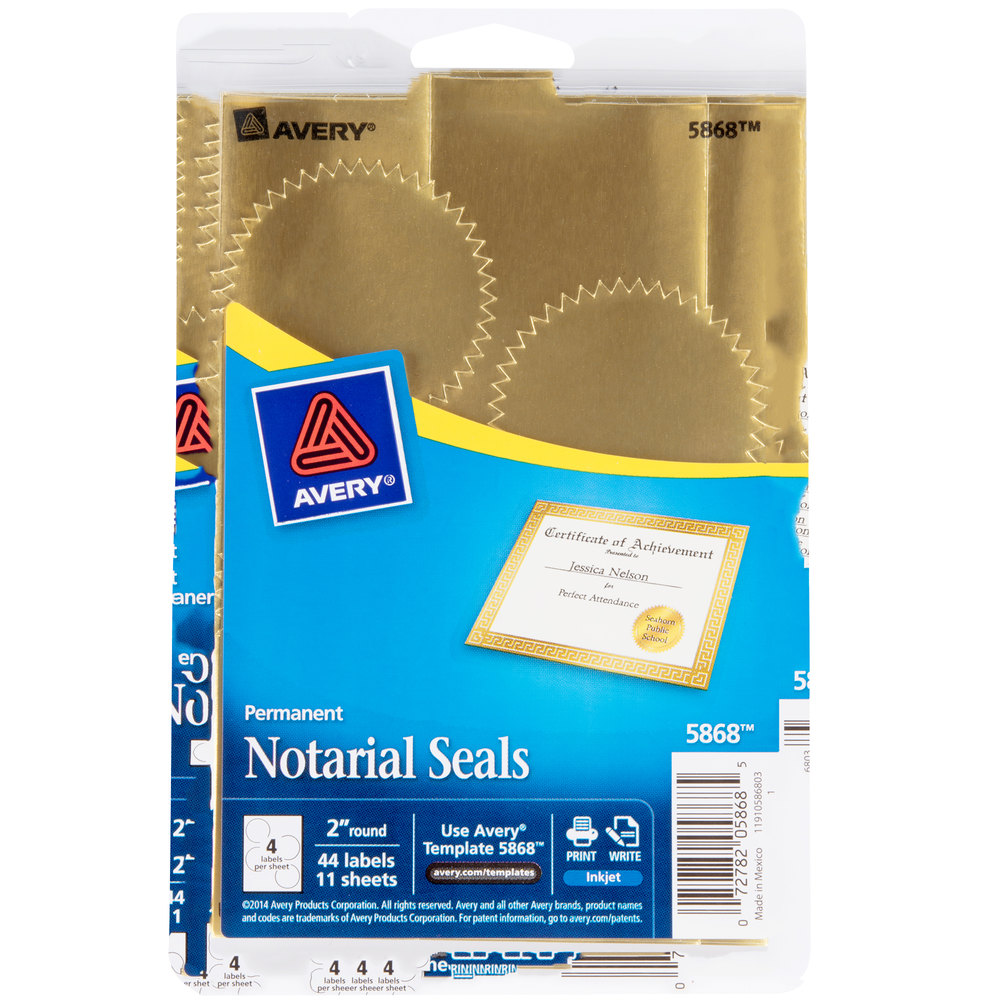 "Avery 05868 2"" Metallic Gold Write-On / Printable Notarial"