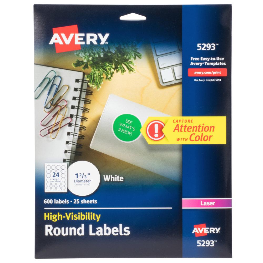 "Avery 5293 1 2/3"" High-Visibility Round White Printable"