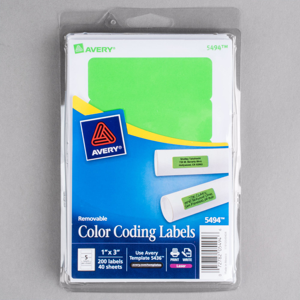 avery 05494 1 x 3 neon green rectangular removable write on printable labels 200pack avery ave05494 - Avery Colored Labels