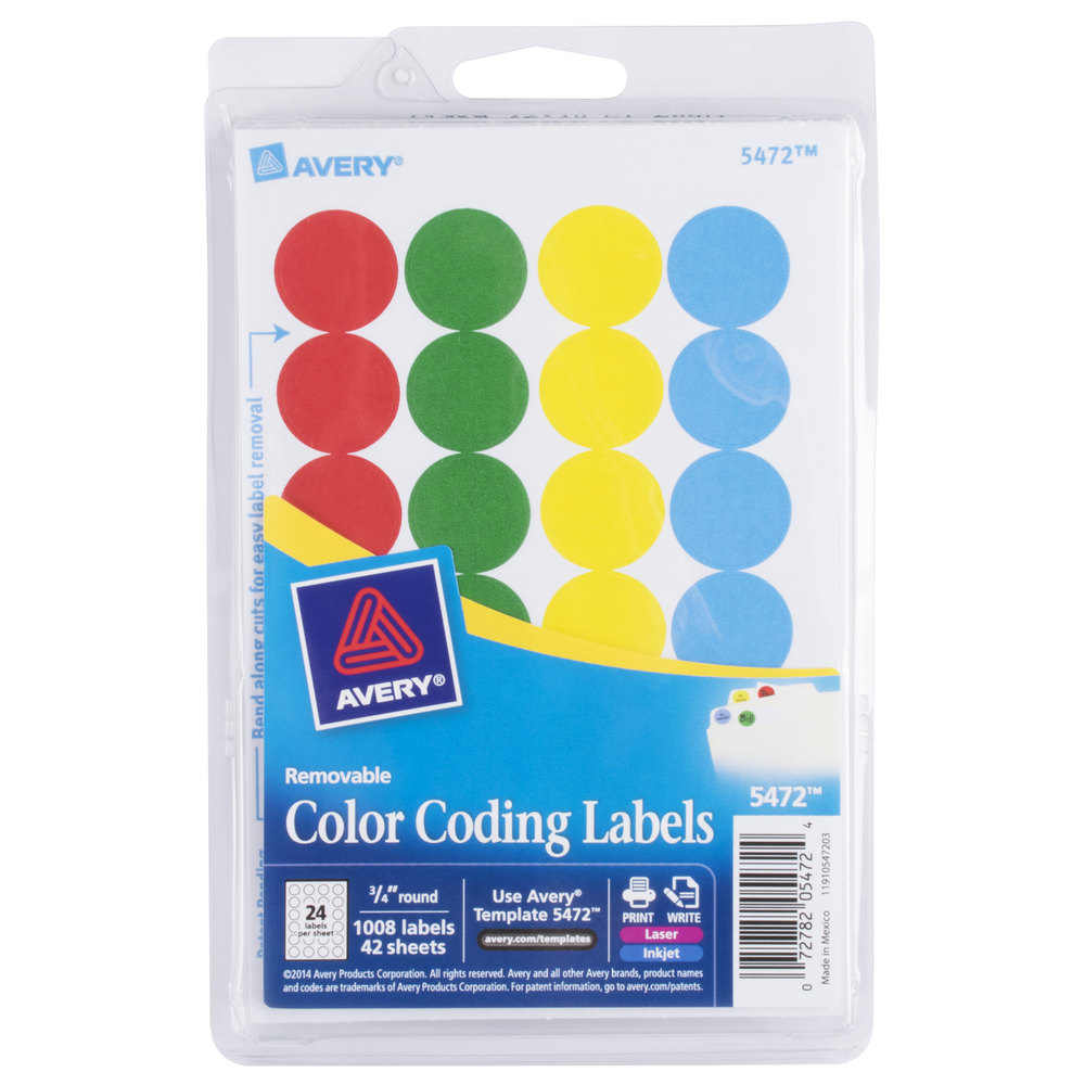 Avery 5472 3 4 Assorted Colors Round Removable Write On Printable Labels