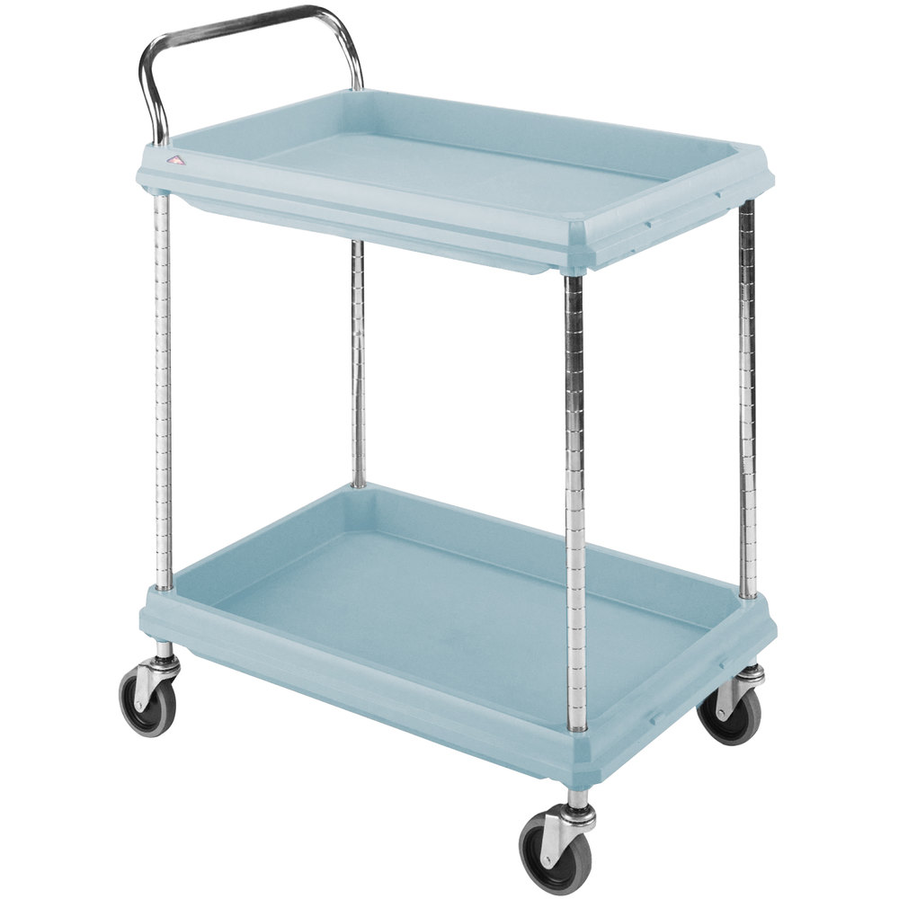 "Metro BC2030-2DMB Utility Cart with Two Deep Ledge Shelves and Microban Protection 32 3/4"" x 21 1/2"" Slate Blue"