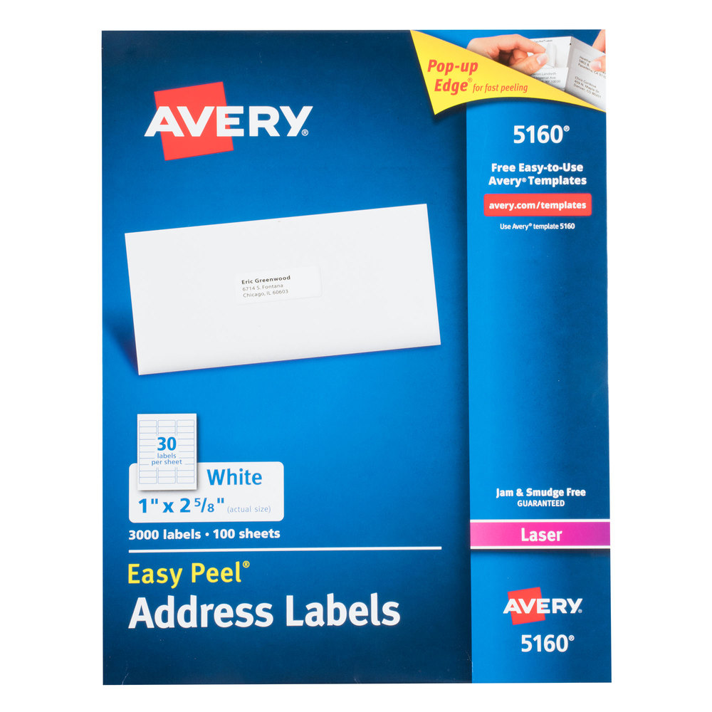 avery 5160 1 x 2 5 8 white easy peel mailing address labels 3000 box avery ave5160. Black Bedroom Furniture Sets. Home Design Ideas