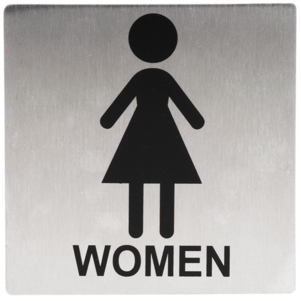 Tablecraft B11 Women S Restroom Sign Stainless Steel 5 Quot X 5 Quot