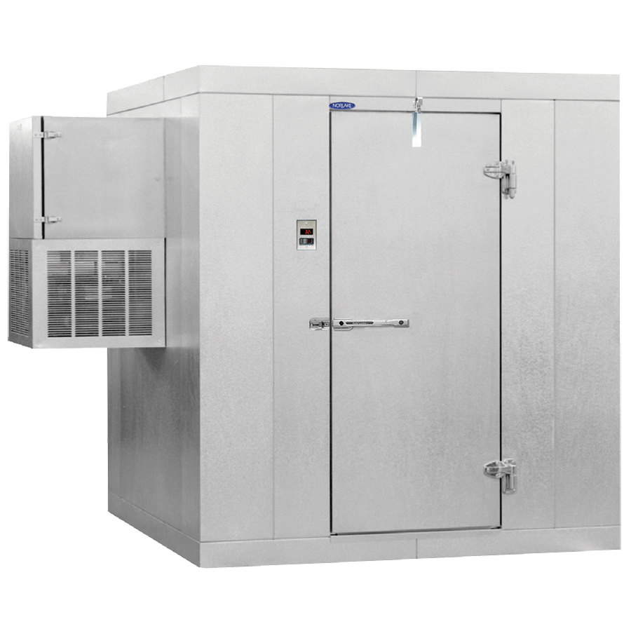 "Right Hinged Door Nor-Lake KLB7466-W Kold Locker 6' x 6' x 7' 4"" Floorless Indoor Walk-In Cooler with Wall Mounted Refrigeration"